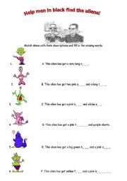English Worksheets: Describe the aliens