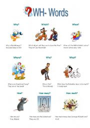English Worksheet: WH- Words