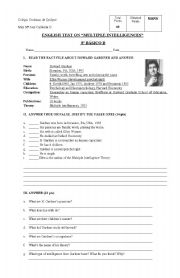 English Worksheet: TEST ON MULTIPLE INTELLIGENCES