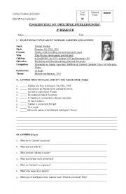 English Worksheets: TEST ON MULTIPLE INTELLIGENCES
