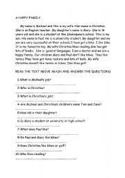 English Worksheets: Read�ng