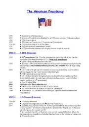 English Worksheets: The American presidency (summary of main events and presidents from 1933 to 2006)