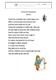picture regarding Frosty the Snowman Lyrics Printable identify English worksheets: Frsty the Snowman - lyrics