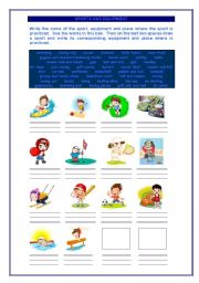 English Worksheet: Sports, Equipment and Location