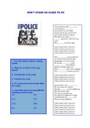 English Worksheet: The Police - Don�t Stand so Close to me