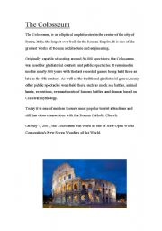 English Worksheets: The Colosseum