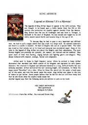English Worksheet: King Arthur, by Shakespeare, W.