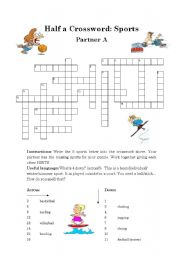 English Worksheet: Half a Crossword: Sports (Pairwork)