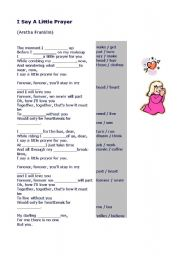 English Worksheets: Say a Little Prayer for you (Song)