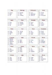 English Worksheets: Tabooish Card
