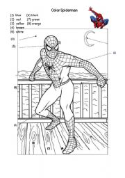 English Worksheet: colors -  Spiderman