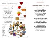 English Worksheet: Thanksgiving poem: I ate too much turkey