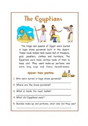 English Worksheets: Reading Comprehension �The Egyptians�