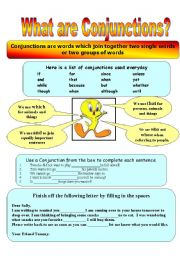English Worksheets: What are Conjunctions?
