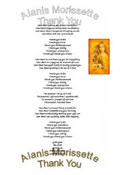 English Worksheet: Thank You Lyrics, Alanis Morissette