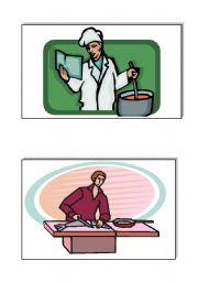 English Worksheet: kitchen verbs, flashcards