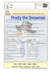 English Worksheet: Frosty the snowman