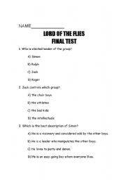 English Worksheet: Lord of the Flies Quiz