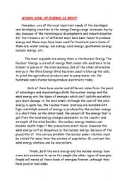 English Worksheet: WHICH KIND OF ENERGY IS BEST?