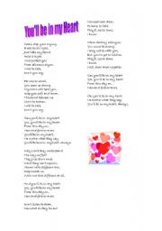 English Worksheet: You´ll be in my heart, bu Phil Collins