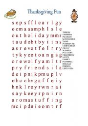 English Worksheet: Thanksgiving Fun Word Search