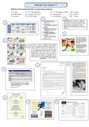 English Worksheet: Reading strategies: types of document