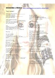 English Worksheet: SHAKIRA PART 2_ lyrics, phonetics, vocabulary.....