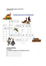 English Worksheet: Thanksgiving. Pair Crossword