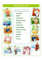 English Worksheet: OCCUPATIONS/READING/WRITING
