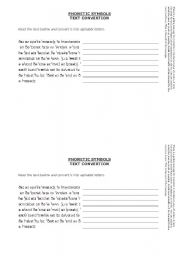 English Worksheet: Phonetic Symbols - Text Transcription