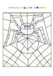 English Worksheets: coloring a spider
