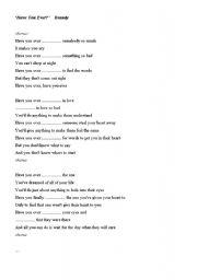 English Worksheets: �Have you ever�  lyrics (by Brandy) Gap-filling