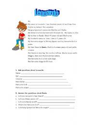 English Worksheets: Leonardo