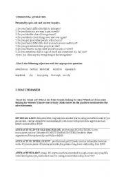 English worksheet: personal qualities
