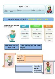 English Worksheets: DESCRIBING PEOPLE - AGE - BUILD - HEIGHT (PAGE 1)