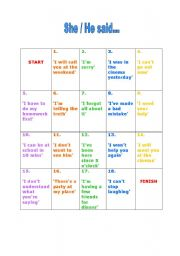 English Worksheet: reported speech board game - coloured version
