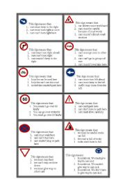 English Worksheets: The Signs Game. Question cards and car counters