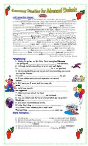 English Worksheet: Grammar Practice for Advanced students