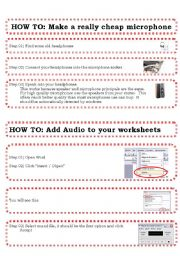 English Worksheets: HOW to Add audio to worksheets tutorial, create a microphone