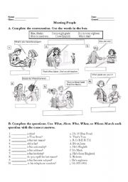 English Worksheets: Daily conversation (Wh-Questions)