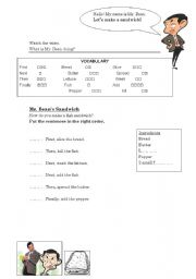 English Worksheet: Mr Bean�s Sandwich - Recipes & Sequence