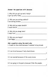 English Worksheet: Why and Because