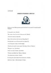 English Worksheets: Shakespearean quotes used in everyday English.