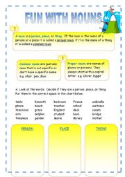 English Worksheets: Fun with Nouns!