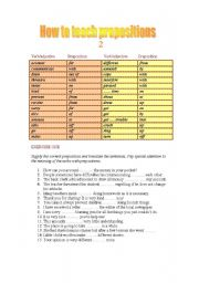 English Worksheet: Prepositions after verbs and adjectives