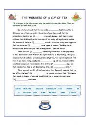 English Worksheet: The Wonders of Tea