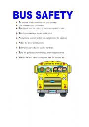 BUS SAFETY - ESL worksheet by isabelri