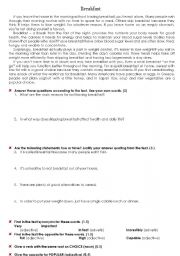 English Worksheets: THREE READING COMPREHENSION TESTS ON HEALTH