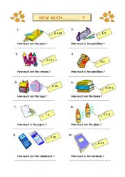 English Worksheet: how much