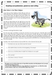 English Worksheets: Reading comprehension + grammar and writing exercise